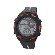 All Blacks Men's Multifunction LCD Watch Black and Orange
