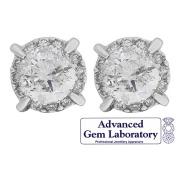 1 Carat of Diamonds 9ct Gold Diamond Halo Earrings