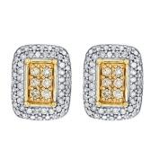 1/2 Carat of Diamonds 9ct Gold Diamond Rectangle Earrings