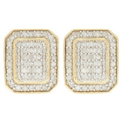 1/2 Carat of Diamonds 9ct Gold Rectangle Earrings