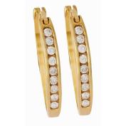 1/4 Carat of Diamonds 9ct Gold Diamond Channel Earrings