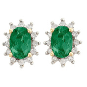 9ct Gold Diamond Synthetic Emerald Cluster Earrings