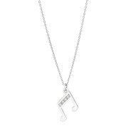 Pia Notes Sterling Silver Diamond Double Note Pendant