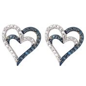 Sterling Silver Blue Diamond Heart Earrings
