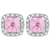 Sterling Silver Diamond and Created Pink Sapphire Cushion Cut Earrings