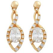 9ct Gold CZ Fancy Stud Drop Earrings