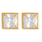 9ct Gold CZ Square Rubover Stud Earrings