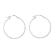 Sterling Silver Medium Diamond Cut Earrings 25mm