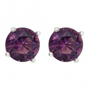 Sterling Silver Violet CZ Stud Earrings