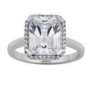 Brilliance Sterling Silver Octagon CZ Ring