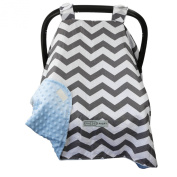 #1 NEW RELEASE - Largest Carseat Canopy Cover, by CRAZZIE (Large, Cool Weather Zigzag Grey/blue) 100% GUARANTEED
