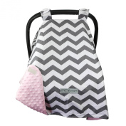 #1 NEW RELEASE - Largest Carseat Canopy Cover, by CRAZZIE (Large, Cool Weather Zigzag Grey/pink) 100% GUARANTEED