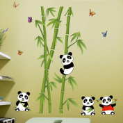 Voberry® Home Decor Mural Vinyl Wall Sticker Removable Cute Panda Bamboo Nursery Room Wall Art Decal for Kids' Room