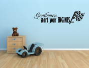 GENTLEMAN START YOUR ENGINES WITH chequered FLAG RACING RACE CARS VINYL WALL DECAL STICKER BOYS KIDS ROOM HOME DECOR