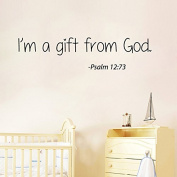 Wall Decals Vinyl Decal Sticker Mural Interior Design Psalm Quote I'm a Gift From God Kids Nursery Baby Room Boy Girl Bedding Decor