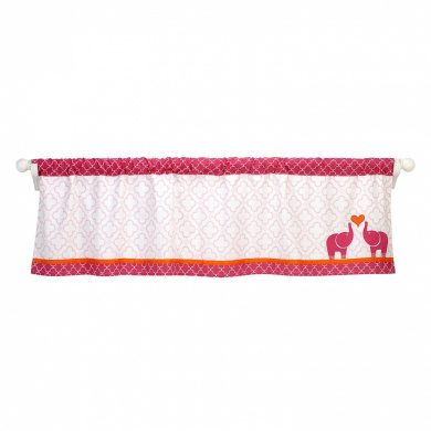 Happy Chic Baby Jonathan Adler Party Elephant Valance, Pink/Orange/White