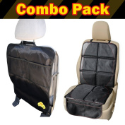 PoppyTootToot Child Car Seat Protector Mat PLUS Car Kick Mat Organiser Auto Combo Pack - Works in Any Vehicle - Get 2 Protectors for One Price and Completely Protect the Back Seat