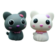 Kangkang@ Set of 2 Cute Kitty Bobbleheads Car Ornaments Auto Decorations,8.9cm ,grey & white Cat Furnishing Articles Spring Doll Supplies Automotive Interiors Cartoon Dolls