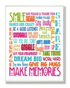 Stupell Industries The Kids Room Smile Make Memories Rainbow Typography Wall Plaque
