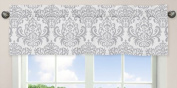 Damask Print Window Valance for Boy or Girls Blue, Grey and White Avery Teen / Childrens Bedding