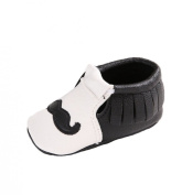 LIDIANO Infant Baby Toddler PU Leather Moustache Print Soft Sole Tassels Moccasins Crib Shoe