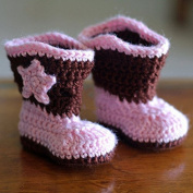 Cowboy Baby Bootie Boots Handmade Crochet Baby Boots Toddler Shoes Pink with Apricot 12cm