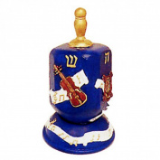 Dark Blue Hanukkah Dreidel with Violin and Music Notes Design and Gold Plated Handle