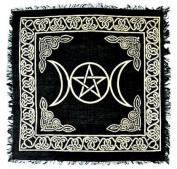 BLACK & GOLD Triple Moon with Pentacle Altar Cloth Tarot Cloth 46cm X 46cm