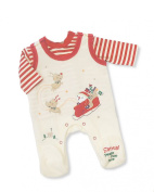 Baby Velour Christmas 'Santa Please Stop Here' Cream 2 Piece Long Sleeved Outfit - So Cute!!