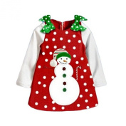 Arrowhunt Baby Girls' Snow Dots Green Bowknot Snowman Christmas Dress