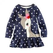 Arrowhunt Baby Girls Long Sleeve One Piece Deer Print Dress