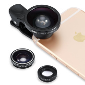 [New Release] 0.4X Super Wide Angle Lens + Fisheye Lens + Macro Lens, Amir® 3 in 1 Clip On Cell Phone Lens Camera Lens Kits for iPhone 6S,6,5S,Galaxy and All Other Smartphones [Good Christmas gifts]