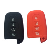 Qty 2 (Black and Red) Key Holder Silicone Smart Keyless Remote Key Cover Key Fob Skin Covers replacement for Kia K2 K5 Rio Kia Optima Sportage Soul Sorento replacement forte Fob