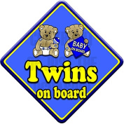 TED TWINS BOYS non personalised novelty baby on board car sign