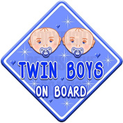 HEARTS TWIN BOYS ON BOARD non personalised baby car sign