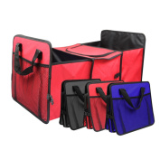 E Support™ Car Storage Bag Portable Folding Flexible Storage Basket Organiser Camping Food Storage Container Basket Bags Boxes Travel Red