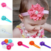 Koly 6 Pieces Baby Girls Headband Head Wear Crystal Lotus Flower Hairband
