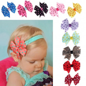 Koly 10 PCs Baby Pointed Bowknot Headband Hairband Elastic Wave Photography