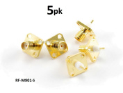 CablesOnline SMA Female Bulkhead Panel Mount Gold Connector RF Adapter (5-Pack)