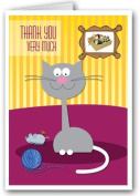 Funny Cat Thank You Note Card - 10 Boxed Cards & Envelopes