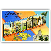 GREETINGS FROM KENTUCKY vintage reprint postcard set of 20 identical postcards. Large letter US state name post card pack (ca. 1930's-1940's). Made in USA.