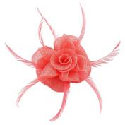 La Vogue Women Fascinator Flower Feather Vintage Brooch Hair Pin Cocktail Wedding Church 18*17*6cm Light Watermelon Red
