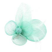 La Vogue Lady Girl Fascinator Cambric Flower Feather Hair Clip Brooch with Pin for Cocktail/Wedding/Tea Party 10*9*6cm Black