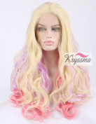 K'ryssma Beauty Cosplay Party Wig Long Wavy Mixed Colour blonde pink purple Synthetic Hair Lace Front Wigs Half Hand Tied Heat Resistant Fibre 60cm for Christmas