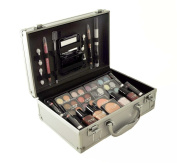 Cameo Carry All Trunk Train Case With Makeup And Reusable Black & White Aluminium Case