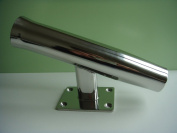 Amarine Stainless Steel Tournament Style Single Rod Holder, Transom Mounted, Wall Mounted - 20 Degree
