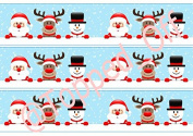 Christmas - Snowman, Santa & Reindeer edible cake band/ribbon in fondant icing by Topped Off