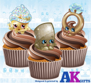 12 Shopkins Fashion Gold Mix Edible Wafer Cup Cake Toppers Decorations
