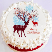 "Christmas Cake Topper - Reindeer Cake Decoration - Edible Icing - 7.5"" / 19cm Round"