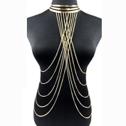 Fashion Exaggeration Sexy Punk Gold Collar Multilayered Tassels Body Chain Body Jewellery